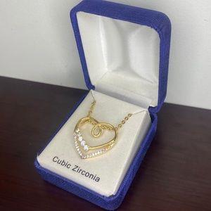 Gold & Zirconia heart necklace